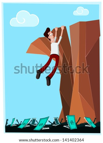 businessman in danger hanging at the cliff with money-monster below his feet - stock vector