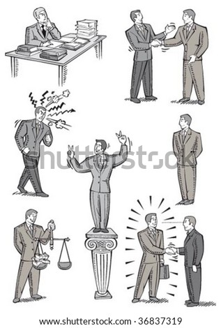 businessman in different attitudes