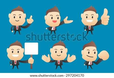 Businessman in different pose - vector illustration; EPS10 - stock vector