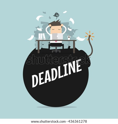 Businessman in hard work and sitting on deadline bomb. A lot of work. Stress at work. vector - stock vector