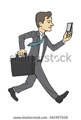 Businessman in motion vector illustration