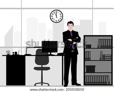 businessman in office - stock vector