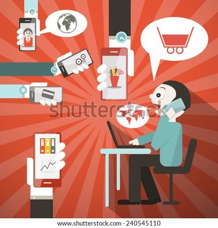 Businessman in Office Vector Illustration - stock vector