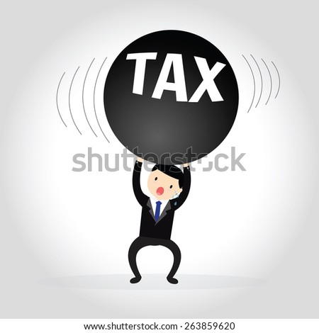 Businessman in stress carrying heavy taxes - stock vector
