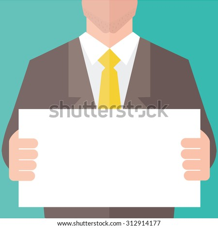 Businessman in suit holding blank banner. Flat design.