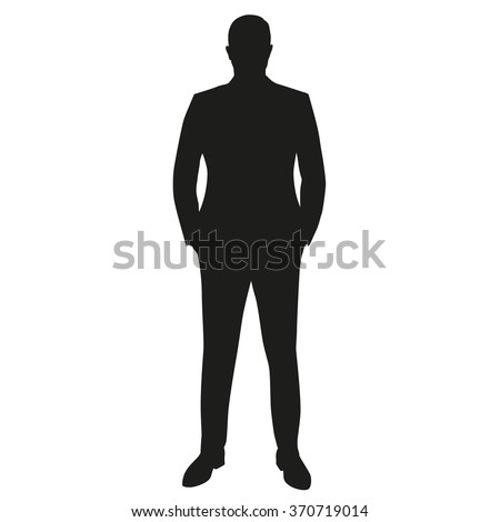 Businessman in suit, isolated vector silhouette