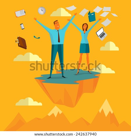 Businessman in the sky position be happy for worked successfully business concepts,vector illustration. - stock vector