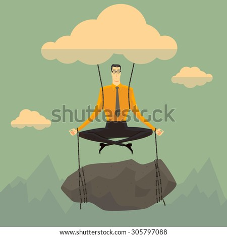 Businessman in the sky position meditating in peace for any spiritual and inner peace business concepts,vector illustration. - stock vector