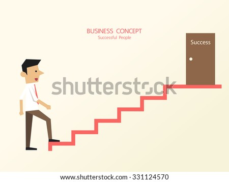 Businessman in white shirt with necktie start up to climbing the stairs of success. Flat style vector character illustration. - stock vector