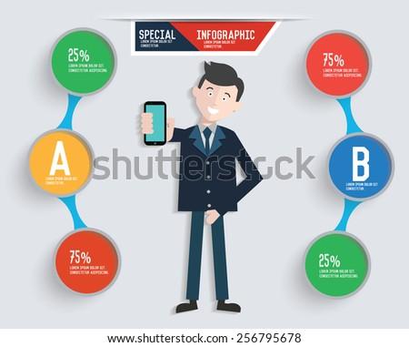 Businessman info graphic design,clean vector - stock vector