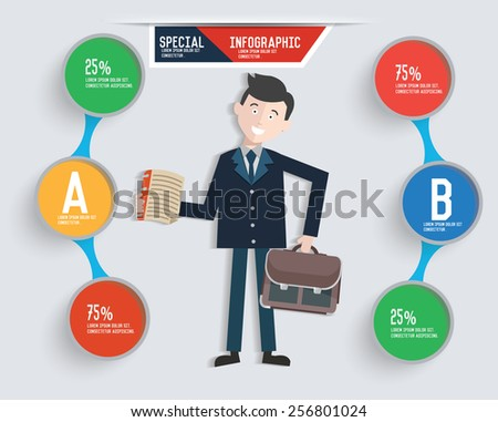 Businessman info graphic design,clean vector - stock vector