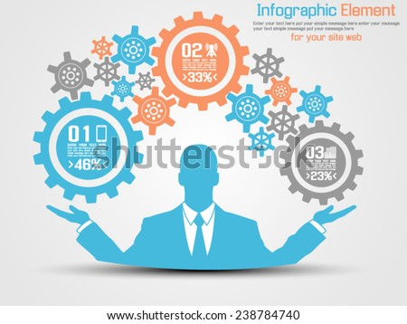 BUSINESSMAN INFOGRAPHIC GEAR BLUE - stock vector