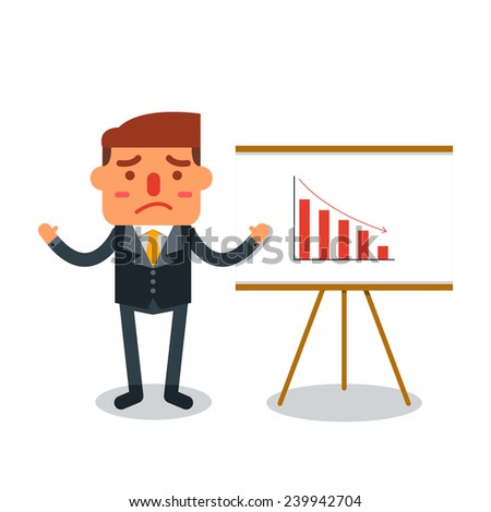 Businessman insolvency with graph down indicating-Vector illustration - stock vector
