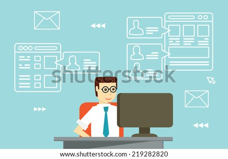 Businessman interactions by social media with business partners - vector illustrations - stock vector