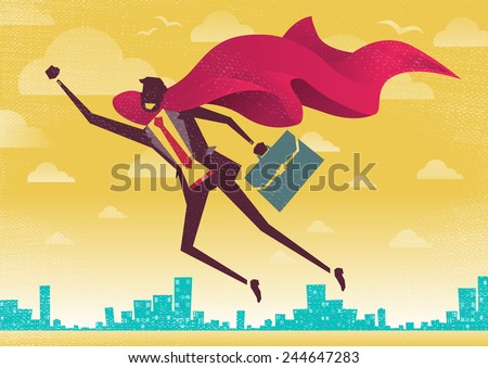 Businessman is a Superhero. Businessman flies off to rescue another business deal that is need of his super powers.