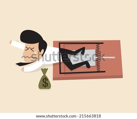 Businessman is caught by a mouse trap - stock vector
