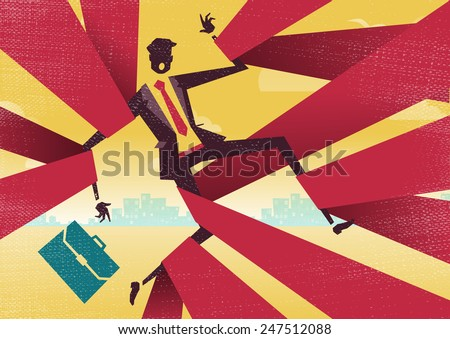 Businessman is caught up in Bureaucratic Red Tape.  Great illustration of Retro styled Abstract Businessman caught up in bureaucratic red tape. - stock vector