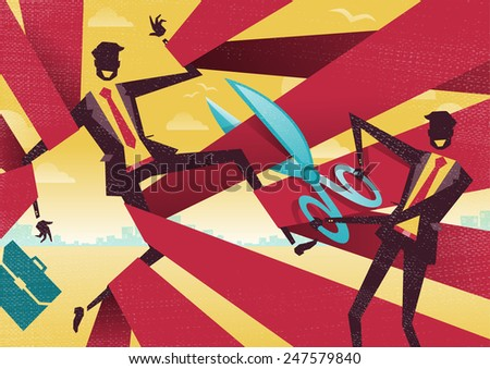 Businessman is cut free from Bureaucratic Red Tape. Great illustration of Retro styled Abstract Businessman using Scissors to free his buddy from bureaucratic red tape. - stock vector