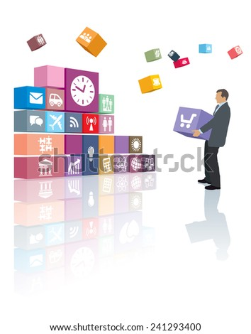Businessman is developing his own web page or software - stock vector