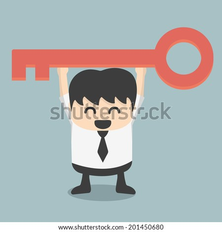 businessman is holding a key of success - stock vector