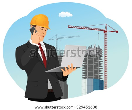 Businessman is holding phone and laptop. Buildings and cranes on the background. Real estate development. - stock vector