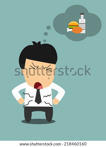 Businessman is hungry and wants to eat - stock vector