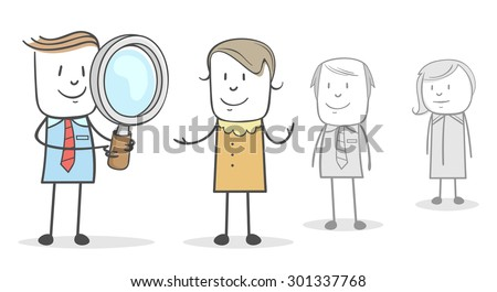 Businessman is in the process of recruitment of workers - stock vector