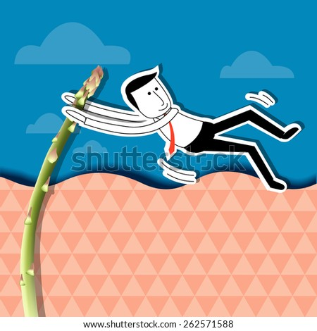 Businessman is jumping with asparagus pole vault. Health workers concept. - stock vector