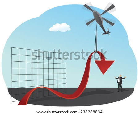 Businessman is lifting up red chart by helicopter - stock vector