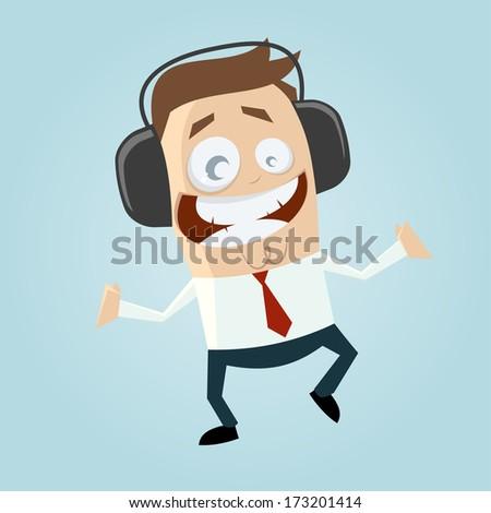 businessman is listening music - stock vector