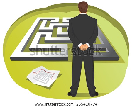 Businessman is looking at maze and map with a solution - stock vector