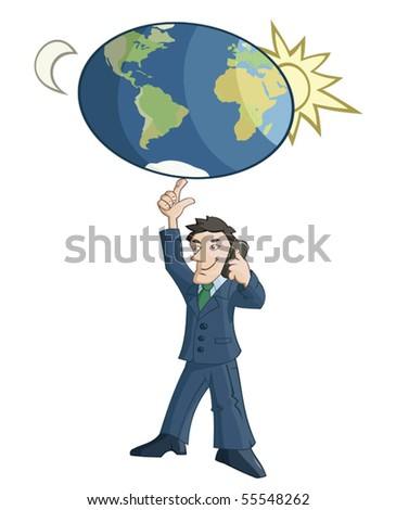 Businessman is rotating the Earth on a finger - stock vector