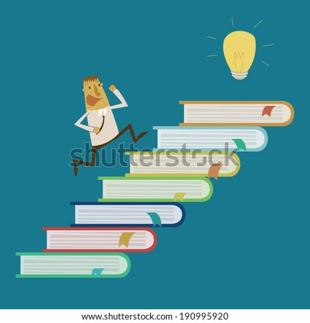 Businessman is running for idea from read book - stock vector