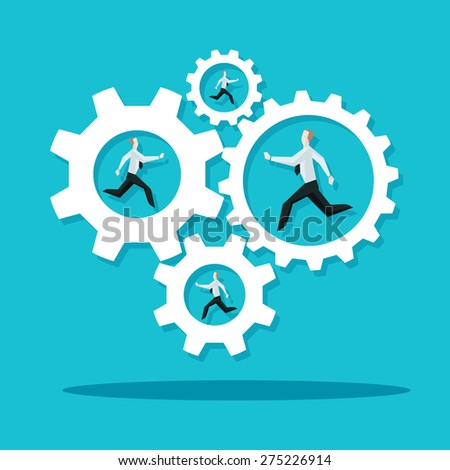Businessman is running in the cogwheel machine. Company concept.