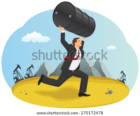 Businessman is running with the oil barrel through the desert - stock vector