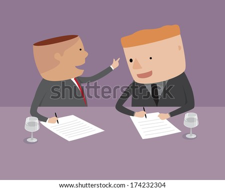 Businessman is signing a contract, illustration vector design.