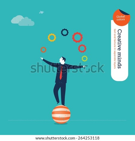 Businessman juggler with gears. Vector illustration Eps10 file. Global colors. Text and Texture in separate layers. - stock vector