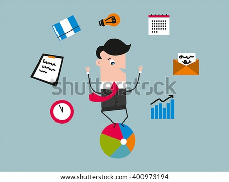 Businessman juggling with office equipment. Multitasking. Productivity concept.  - stock vector