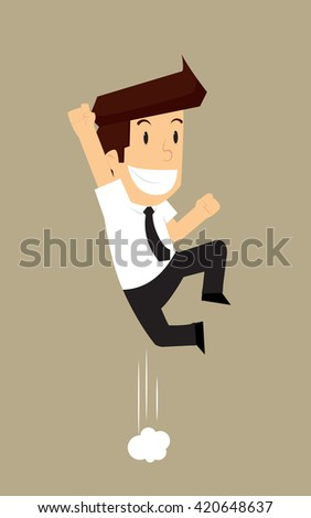 businessman jump ecstasy. vector