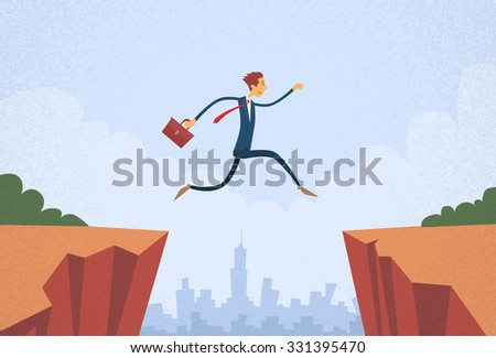 Businessman Jump Over Cliff Gap Mountain Flat Retro Vector Illustration - stock vector
