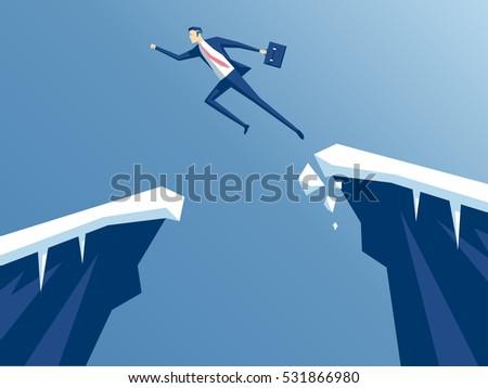 Businessman jump through gap rocks employee stock vector for Jump the gap