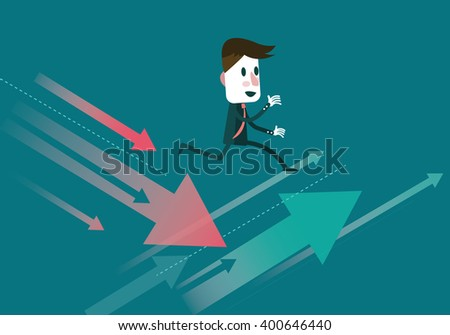 Businessman jump to the growth arrow. Finance and trading concept. flat character design. vector illustration