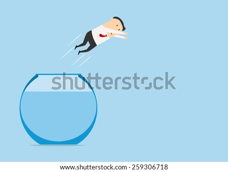 Businessman jumping in auarium from another for career concept design - stock vector