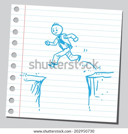 Businessman jumping over cliff - stock vector