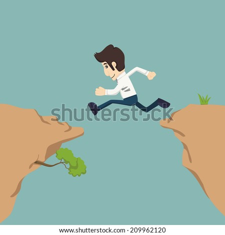Businessman jumping over gap  , eps10 vector format - stock vector