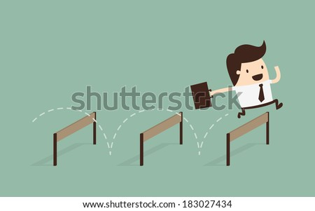 Businessman Jumping Over Hurdle  - stock vector