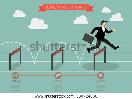 Businessman jumping over hurdle infographic. Business concept - stock vector