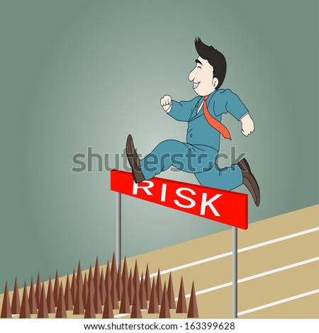 Businessman jumping over hurdle on a running track on the way to risk - stock vector