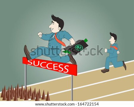 Businessman jumping over hurdle on a running track on the way to success with briefcase,vector eps 10 - stock vector