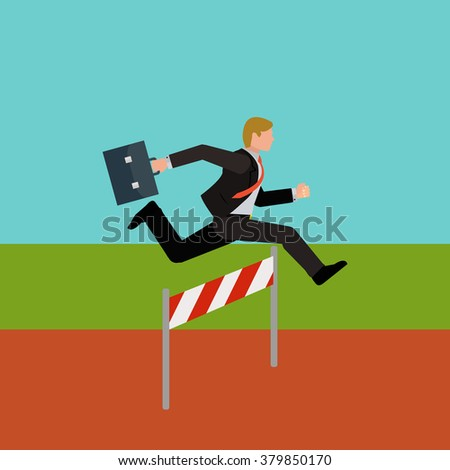 Businessman jumping over hurdle vector concept